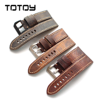 TOTOY Vintage Cowhide Watchbands, Adaptable Military Watch, Mountaineering Watch, PAM, Leather Strap, 20 22 24 26MM Men's Strap