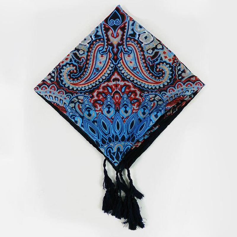 Hot 2018 New Design Women Tassel Cashew Totem Print Square Scarf Musim Hijab Headband Shawl Nation Style Wrap
