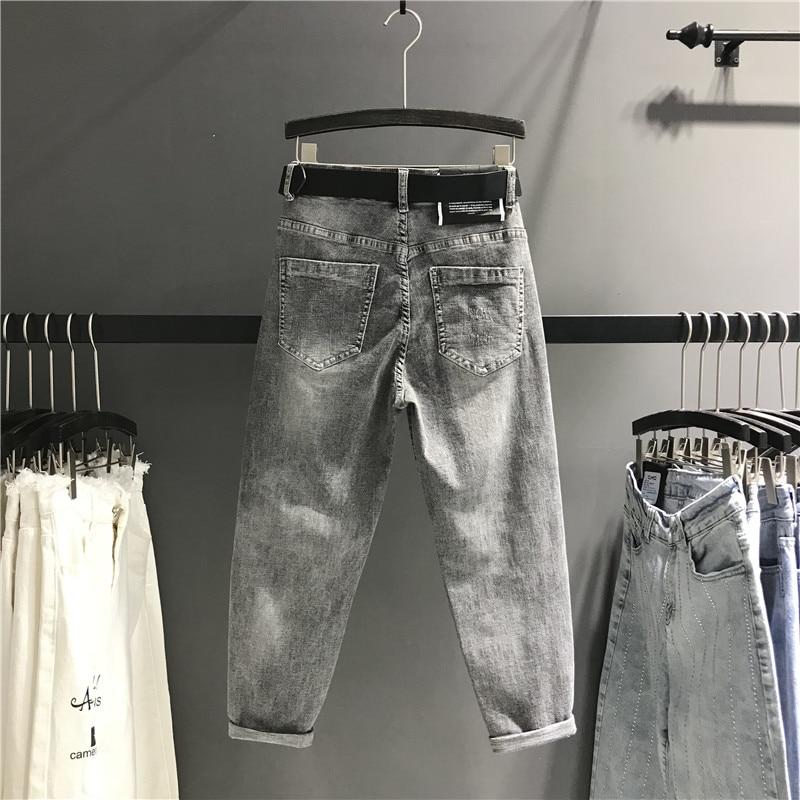Новинка весна лето Тяжелые Вышитые серые джинсы брюки женские тонкие с высокой талией джинсовые брюки повседневные шаровары