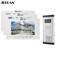 JERUAN White Doorbell Apartment Intercom 7 Inch Video Intercom Door Phone System 3 Monitor 700TVL IR