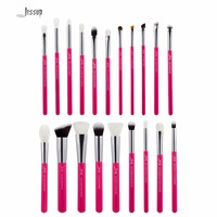 Jessup Rose Carmin Silver Professional Makeup Brushes Set Make Up Brush Tools Kit Foundation Powder Brushes