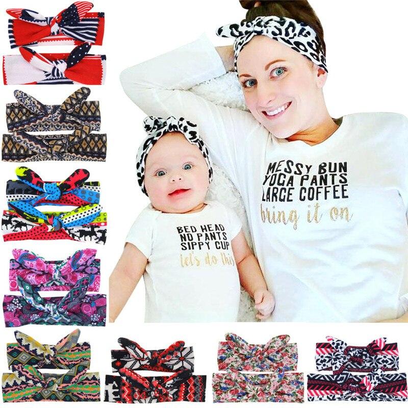 MIXIU 2pc/set DIY Handmade Mother And Baby Rabbit Ears Bowknot Headband Elastic Newborn Headwear Hair Band Hair Accessories
