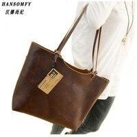 100% натуральная кожа женские сумки 2018 Новый дизайн женские сумки винтажные женские сумки на плечо большая сумка тоут коричневые женские сум
