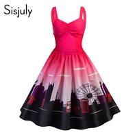 Sisjuly Vintage Print Spaghetti Strap A Line Dress Women Sexy Sleeveless Party Dresses 2018 Female Fashion