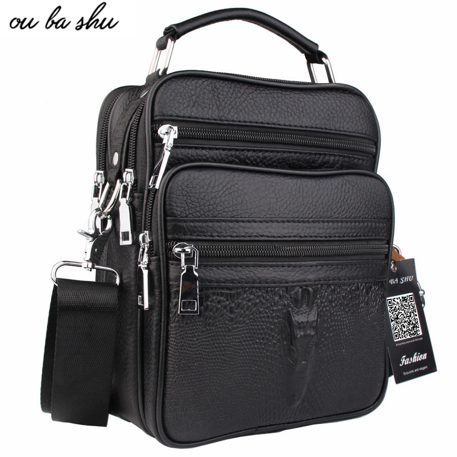 OU BA SHU Genuine Leather Bag top-handle Men Bags Shoulder Crossbody Bags Messenger Small Flap Casual Handbags Male Leather Bag genuine leather bag male men bags small shoulder crossbody bags handbags casual messenger flap men leather bag crocodile pattern