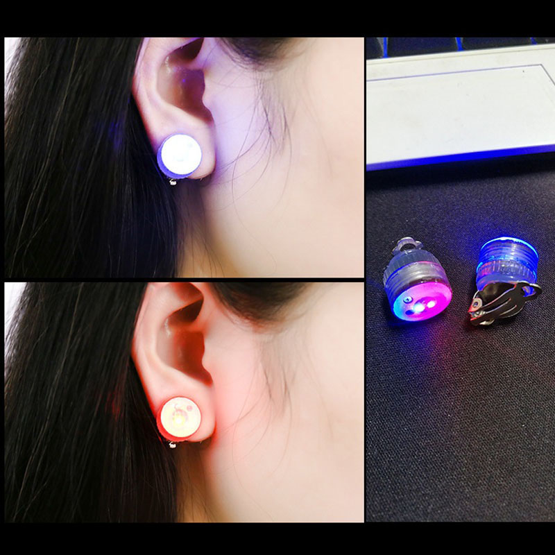 400pcslot(200pairs) Fashion Led Stud Earring Clip LED Earrings Studs Dance Party Accessories Unisex for Men Women