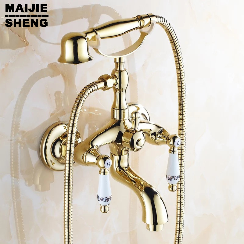 Free Shipping Shower mixer Faucet Mixer Tap G018 Luxury golden Style BathTub Faucet Ceramic Handle Handheld bath new us free shipping simple style golden finish bathtub faucet mixer tap shower faucet w ceramics handheld shower wall mounted