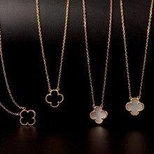 Стерлингового серебра 925 кулон ожерелье для женщин (клевер оболочки)