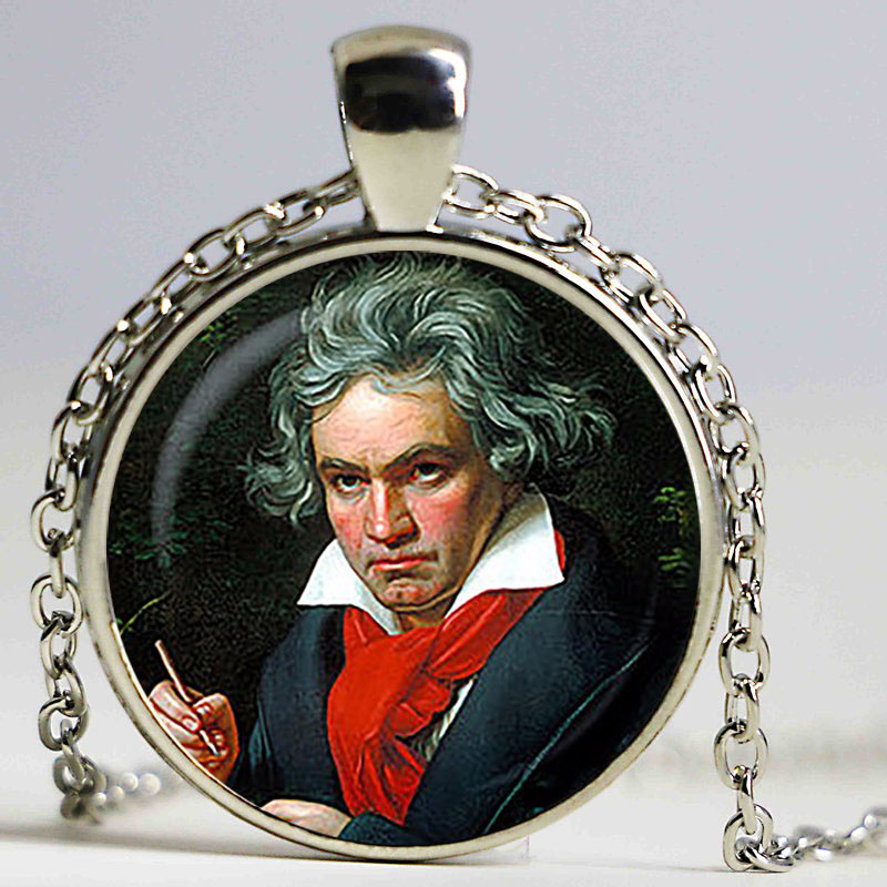 Ludwig van Beethoven pendant. German composer, pianist necklace. Music, Famous People, genius jewelrysliver plated,christmas image
