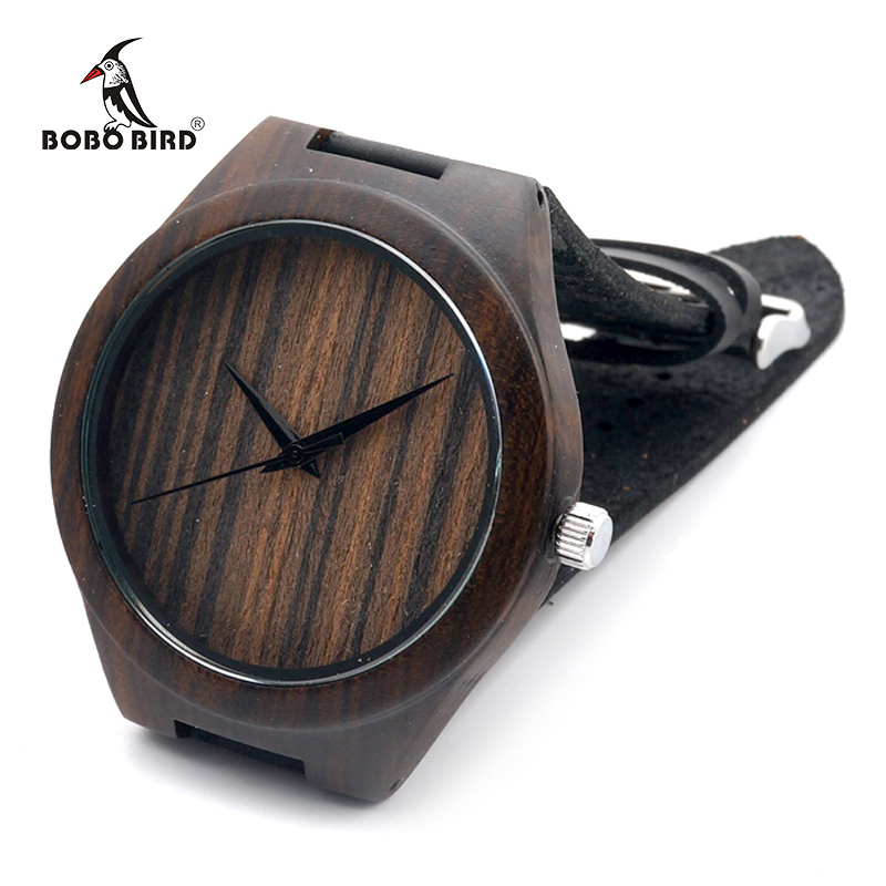BOBO BIRD Top Quality Luxury Bamboo Wood Watch with Cow Leather Strap Quartz Analog Men Wooden