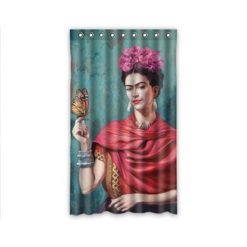New Romantic Sheer Panel Frida Kahlo Curtain Beads Tassel Fl Voile Divider 50x84 Inch Window