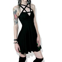 2019 Summer Women Slim Sexy Mini Dress Gothic  Black Pentagram Goth