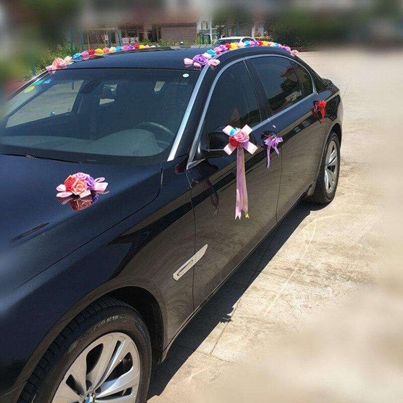 Arc-en-ciel mariage voiture décoration ensembles fleurs artificielles mariage Docoration mousse Roses décoratif couronne bricolage en gros - 6