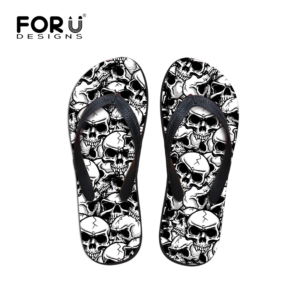 Image 1 - FORUDESIGNS Cool Punk Skull Zombie Design Mens Flip Flops Fashion Summer Beach Water Rubber Slippers Male Flats Sandals Shoes-in Flip Flops from Shoes on AliExpress