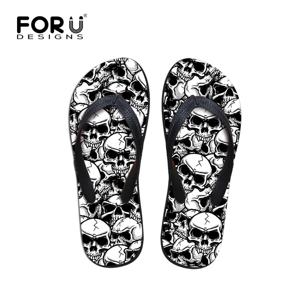 Forudesigns كول الشرير الجمجمة الكسول تصميم الرجال الوجه يتخبط أزياء الصيف شاطئ المطاط المياه النعال الذكور الشقق الصنادل الأحذية