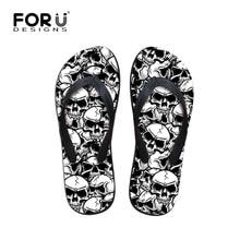 FORUDESIGNS Cool Punk Skull Zombie Design Men's Flip Flops Fashion Summer Beach Water Rubber Slippers Male Flats Sandals Shoes