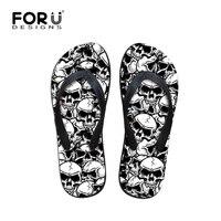 FORUDESIGNS Serin Punk Kafatası Zombi Tasarım erkek Çevirme Moda Yaz Plaj Su Kauçuk Terlik Erkek Sandalet Ayakkabı Daireler
