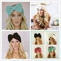 2016 Mulheres Wraps Cabeça Bowknot Malha Warmer Cabelo Bandas Acessórios Para o Cabelo Menina Headband Inverno Quente Torção do Crochet Headwear