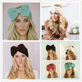 2016 Women Head Wraps Bowknot Knitted Warmer Hair Accessories Hair Bands Girl Headband Winter Warm Twist Crochet Headwear