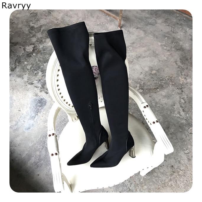 6cf45c6304ab Boot Outfit Picture Over Femmes the Concis Bottes Longues Noir Argent Bout  Daim Chaussures De genou ...