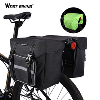 West biking 25l grande capacidade saco de assento traseiro da bicicleta capa chuva ao ar livre ciclismo mtb estrada assento traseiro tronco duplo pannier saco