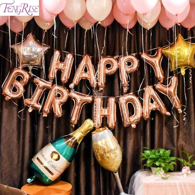 FENGRISE Rose Gold Party Baloon 18th 21st 30th Birthday Balloon 18 21 30 40 50