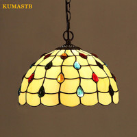 European Creative Living Room Bedroom Dinning Room Suspension Luminaire With Stained Glass Beads Lustre Pendente Minimalist