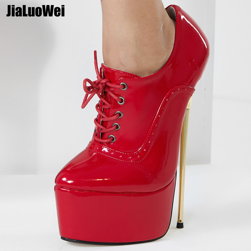 Jialuowei/Новые Брендовые женские туфли-лодочки на высоком каблуке 22 см, с острым носком, на платформе, пикантные женские туфли-фетиш, простые то...