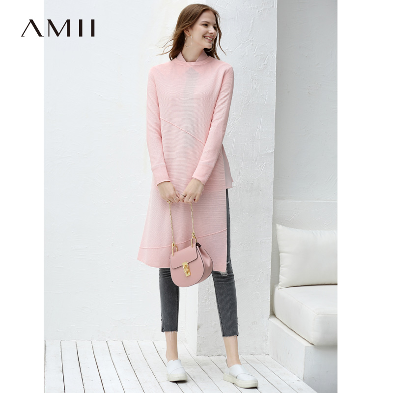 Amii Minimalist Women 2019 Autumn Sweater Chic Loose Straight Slit Long Female Pullovers Sweaters