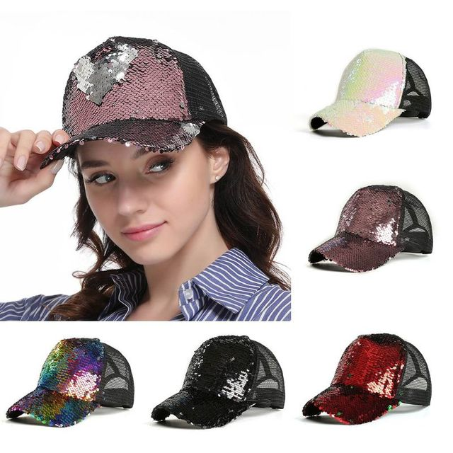 Womens Unisex Messy Bun Ponytail Baseball  Tennis   Cap Reversible Magic Glitter Sequins Contrast Color Mesh Back Adjustable  2