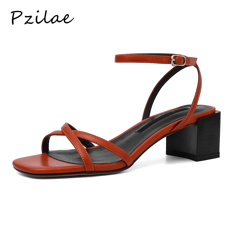 Pzilae Strap Shoes Heels Sandals Buckle Open-Toe Black Casual