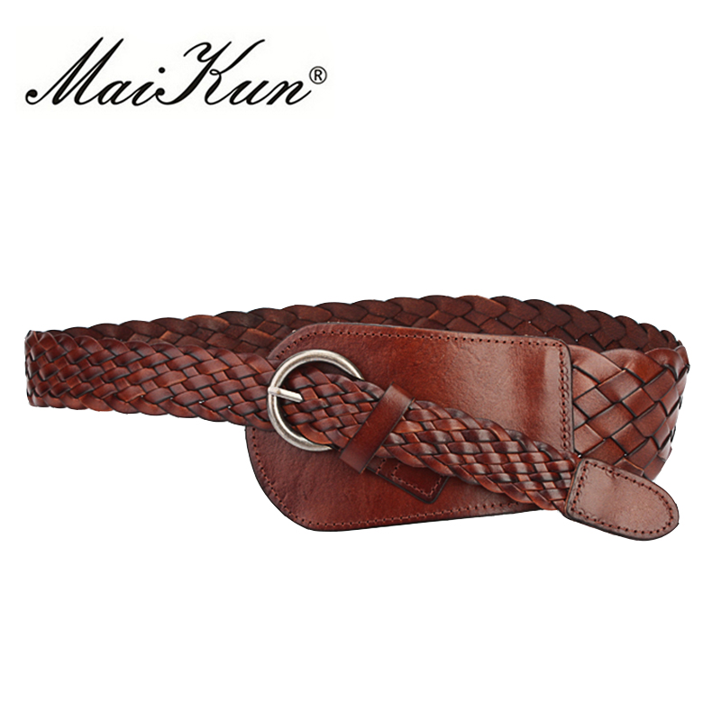 MaiKun Wide   Belts   for Women Cowskin Braided Leather   Belts   Luxury Brand Women   Belt   for Dress