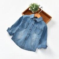חולצת ג 'ינס לילדים באיכות גבוהה שמלת Bule ינס חולצות תינוקת בנות חורף חולצתו של חולצות שרוול ארוך דש