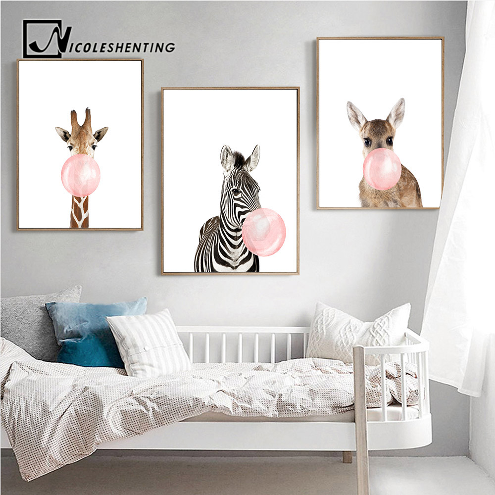 Giraffe Zebra Animal Posters and Prints Canvas Art Painting Wall Art Nursery Decorative Picture Nordic Style Kids Decoration mandala animal print tapestry wall art