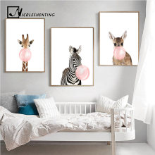 Giraffe Zebra Animal Posters and Prints Canvas Art Painting Wall Art Nursery Decorative Picture Nordic Style Kids Decoration(China)