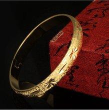 Женский винтажный браслет желтое золото диаметром 60 мм
