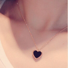 heart pendant gold-color necklace women fashion jewelry bijoux necklaces amp pendants gift black and white colors cheap Link Chain TRENDY long necklace Chokers Necklaces Etrendy Cubic Zirconia Gold Plated short necklace short with extended chain