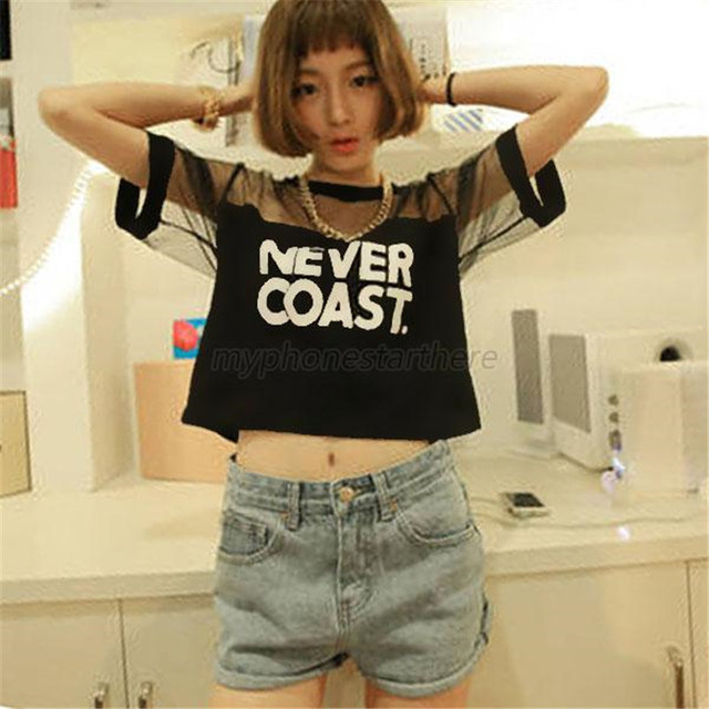 SILVERCELL NEVER COAST Letter Printed Crop Top Sexy Women Loose Crop Short Top Blouse Crew Neck Short Sleeve  See-through Tops
