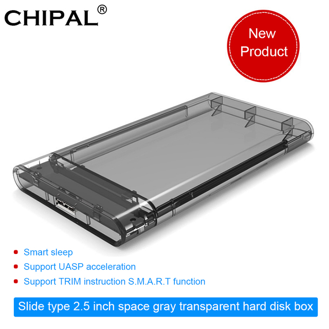 "CHIPAL 2,5 ""USB 3,0 SATA Hd Box HDD disco duro externo carcasa transparente herramienta gratis 5 gbps de apoyo 2 TB SDD"