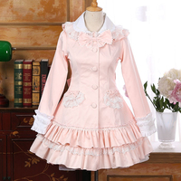 New Style Rabbit Ears Lace Dress Winter Coat Sweet Lovely Lolita Gothic Pink Color Coat Hot Selling B