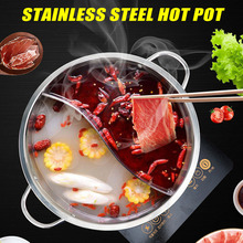 Hot Pot Stainless Steel Twin Divided 2 Handle Cooking Pot Cooking Supplies HFing