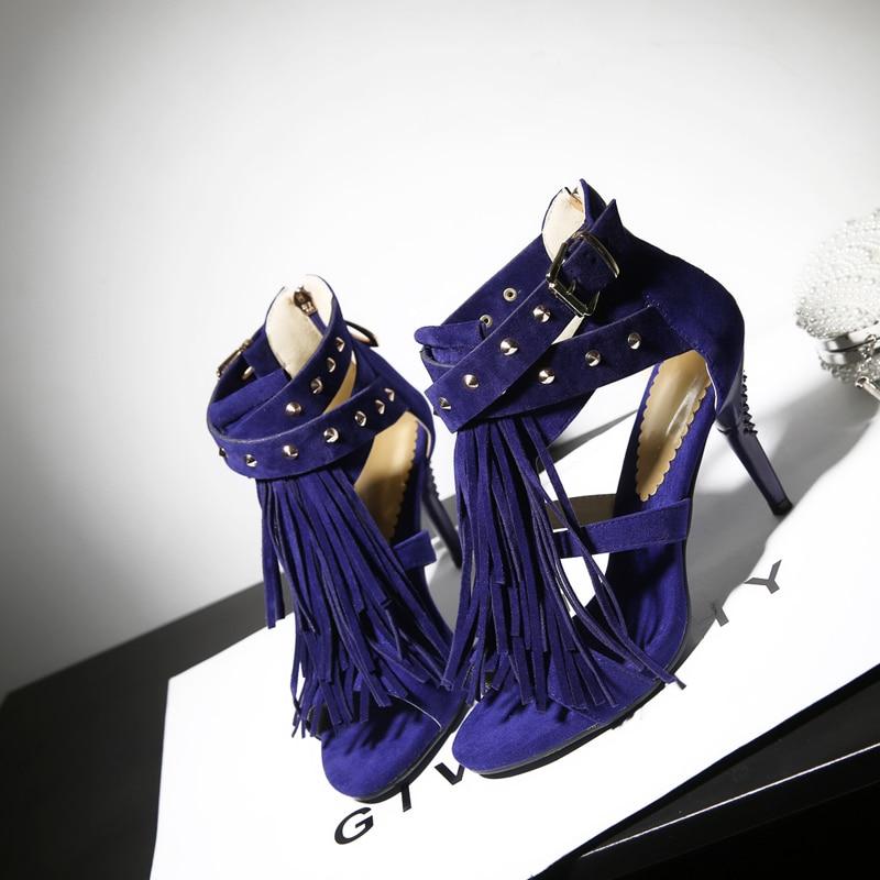 Brand New Sale Sexy Women Tassel Sandals Blue Black Purple -9189