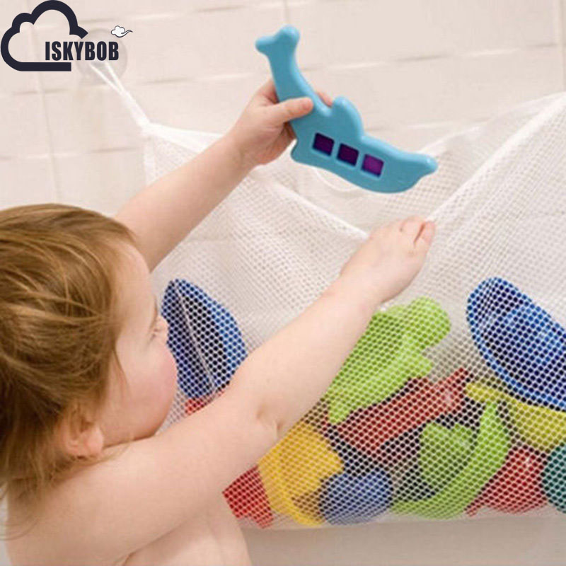 Folding Baby Bathroom Hanging Mesh Bath Toy Storage Bag Net Suction Cup Baskets Shower Toy Organiser Bags