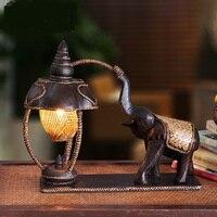 Юго Восточной настольные лампы Слон лампы освещения Ретро Таиланд резные спальня ночники теплый bamboo hotel украшения LU809199