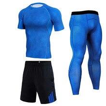 Беговые шорты Костюм Мужские шорты CrossFit Футболка леггинсы Спорт Фитнес спортивный костюм Сжатие