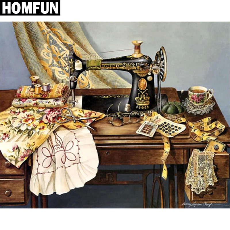 HOMFUN Full Square/Round Drill 5D DIY Diamond Painting Sewing machine 3D Embroidery Cross Stitch 5D Rhinestone Home DecorHOMFUN Full Square/Round Drill 5D DIY Diamond Painting Sewing machine 3D Embroidery Cross Stitch 5D Rhinestone Home Decor
