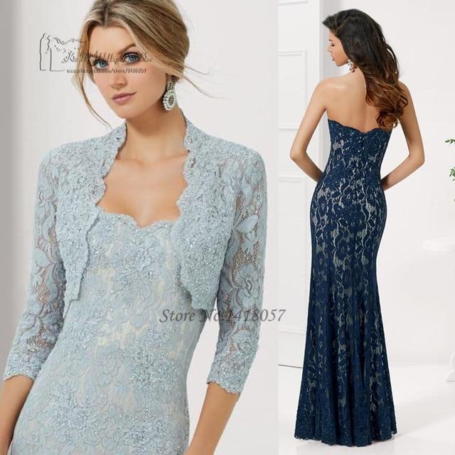 4ff18b245268 Elegante Blu Navy madre della Sposa Abiti Pant Abiti di Pizzo con Giacca  Sirena Partito di