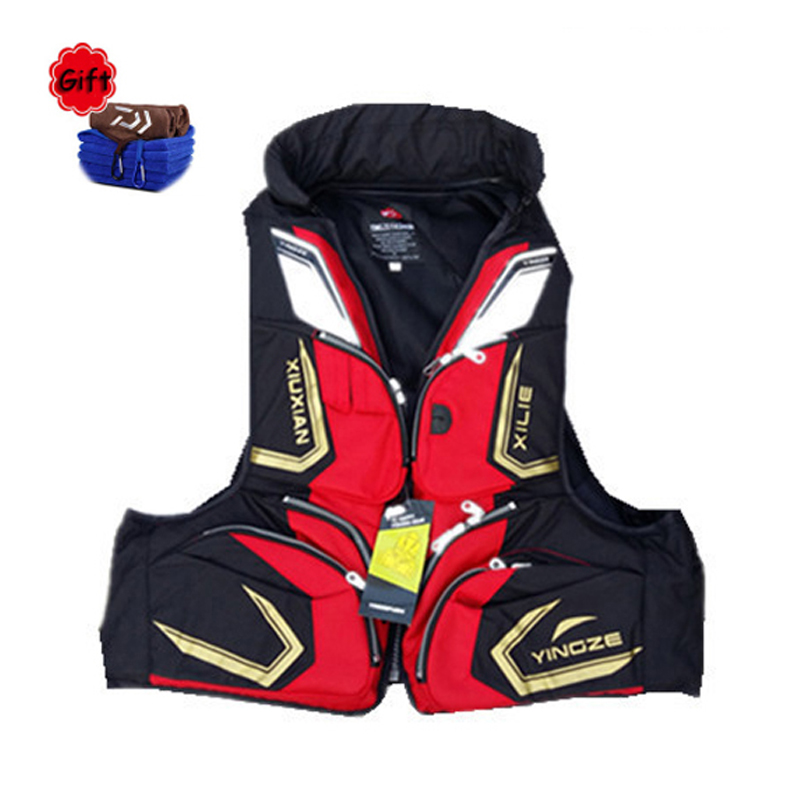 Red Black Breathable Fishing Vest Fishing Clothing Fishing Clothes Tackle Flotation Vest Fishing Tackle Free Gift