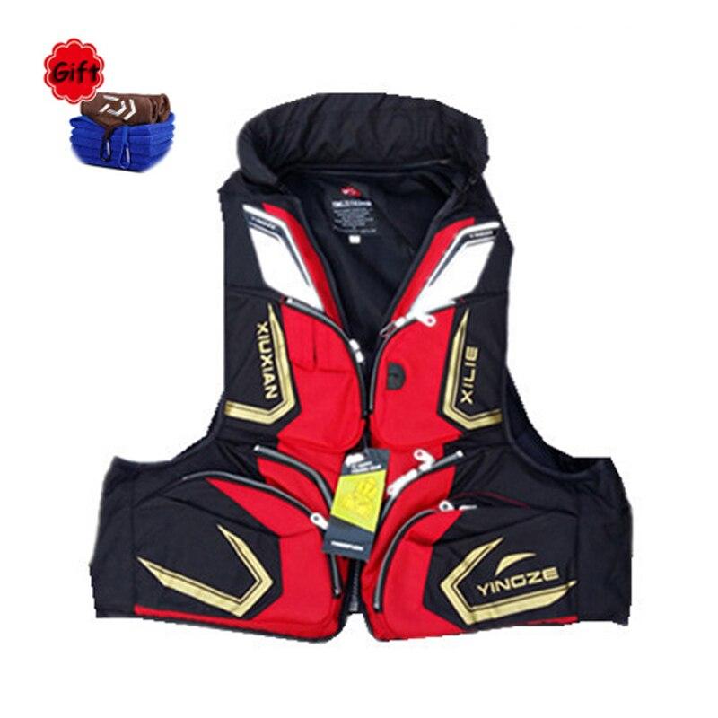 Rouge noir respirant gilet de pêche vêtements de pêche vêtements de pêche matériel de flottaison gilet de pêche matériel de pêche cadeau gratuit
