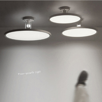 Современный минималистский круговой темы панель светодиодный потолочный светильник Креативный дизайн белый спрей шлифования гостиная де